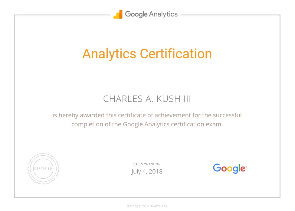 Google Analytics Certification Charles Kush 2018 7 4 Charles A